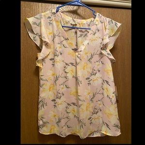 Pink and yellow floral blouse lily white brand
